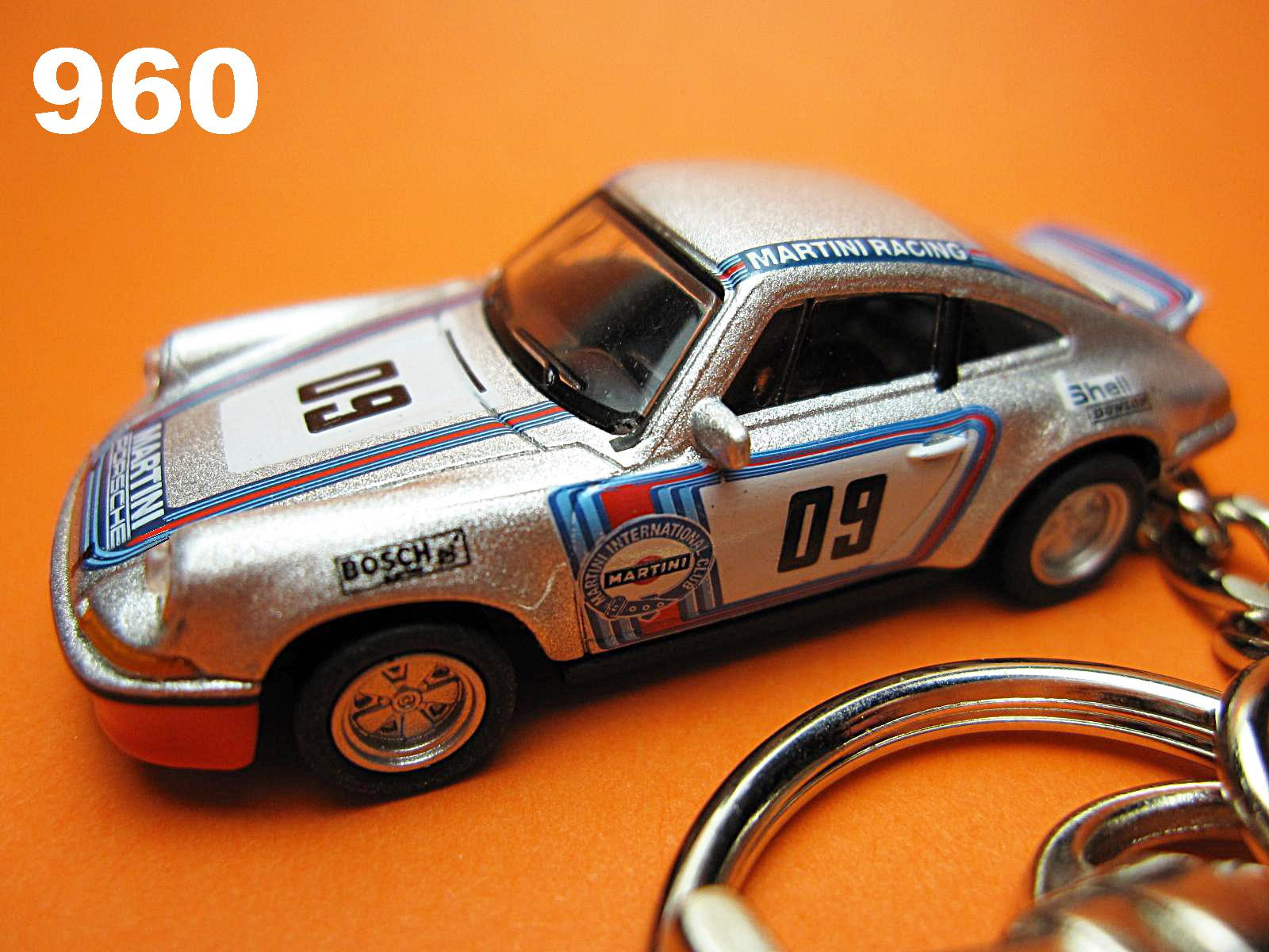 Porsche 911 RS Martini Racing #09 (Silver) Die-cast Key Chain