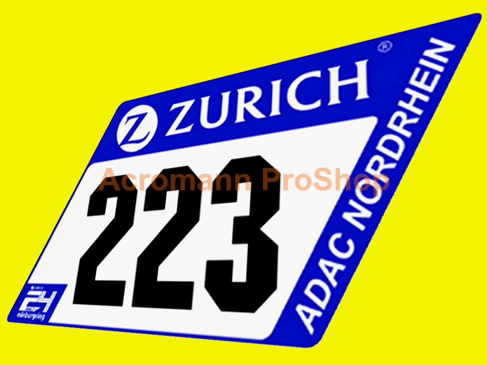 ADAC Zurich 24h Nurburgring Race Number Plate Decal Sticker (#2)