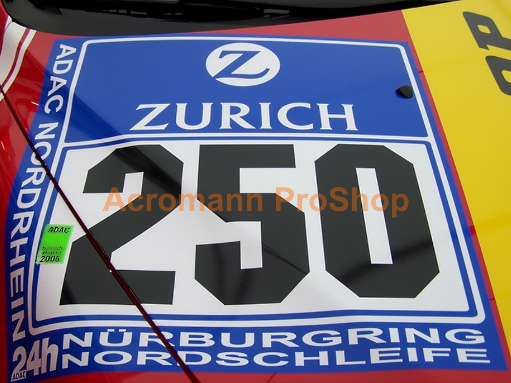 ADAC Zurich 24h Nurburgring Race Number Plate Decal Sticker (#1)