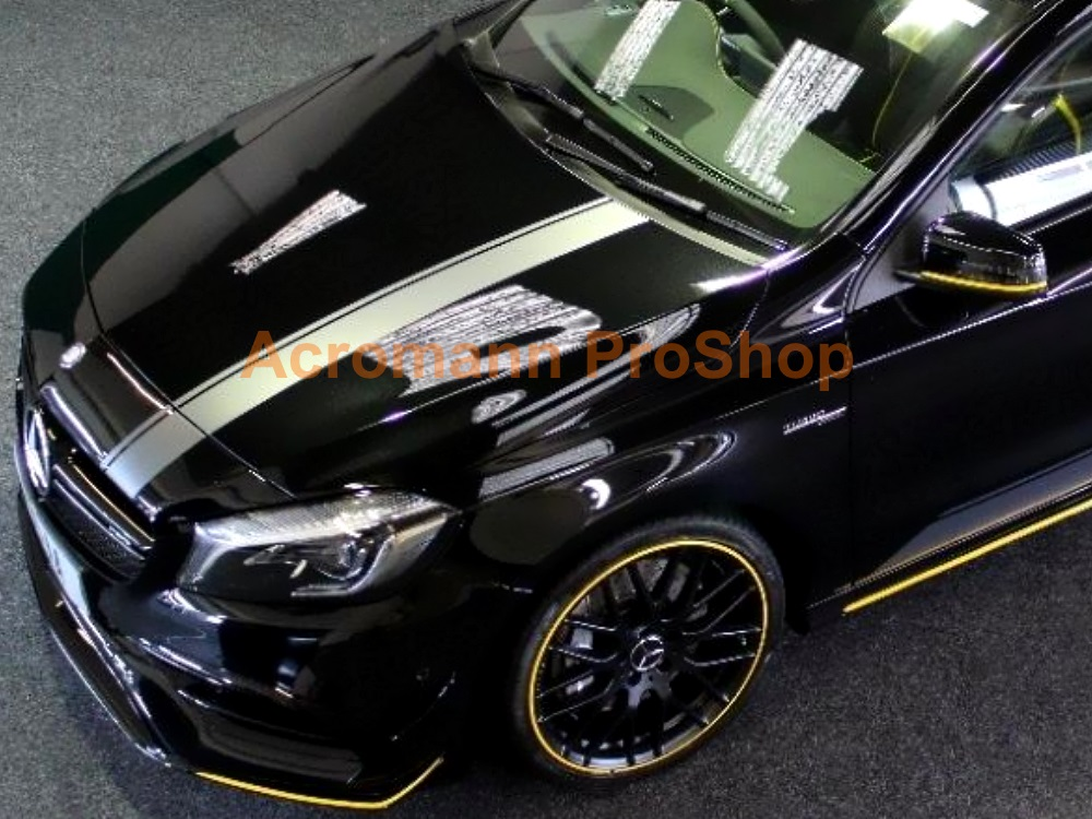 AMG W176 A45 Class Yellow Night Hood Roof Top Racing Stripes Dec