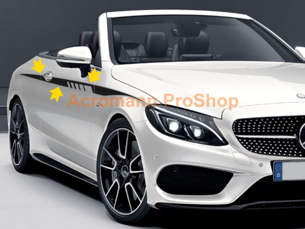 AMG C205 A205 Coupe Class Sports Side Stripes Door Decal Sticker