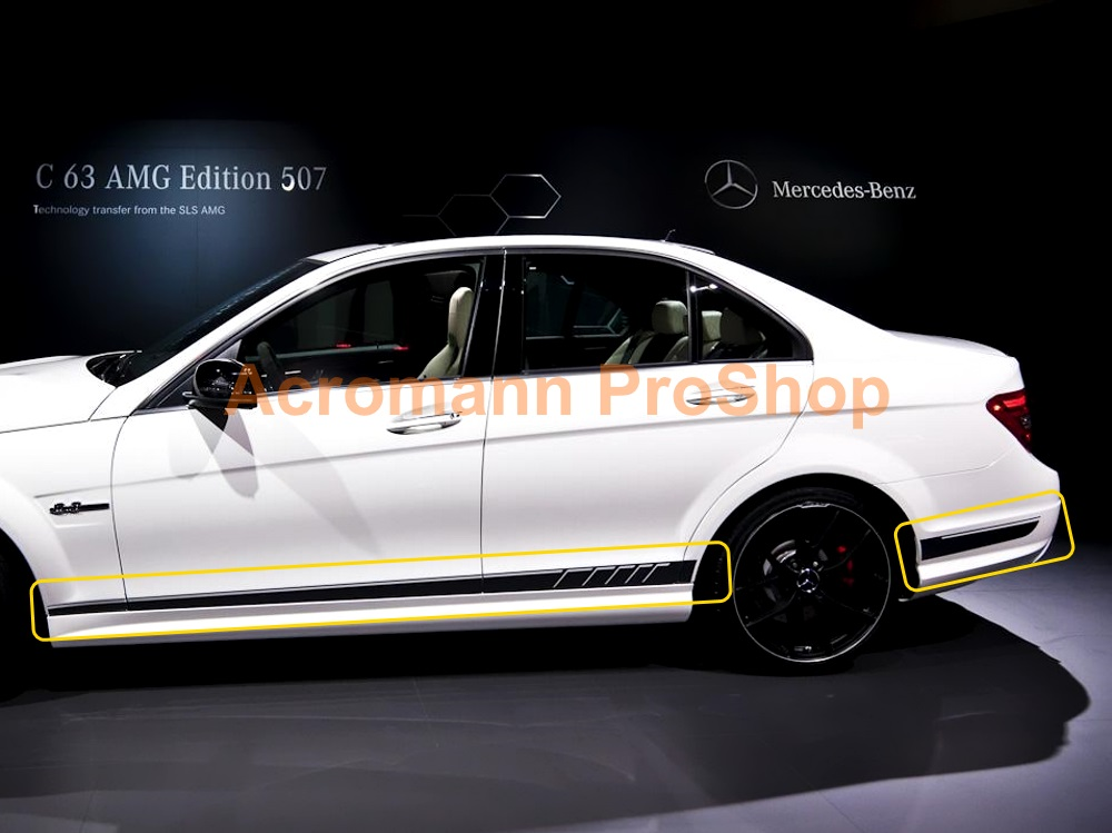 AMG W204 S204 C63 4dr Edition507 Side Stripes Door Decal Sticker