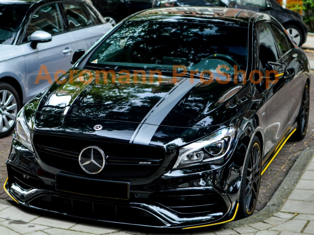 AMG C117 CLA45 Yellow Night Hood Roof Top Racing Stripes Decals