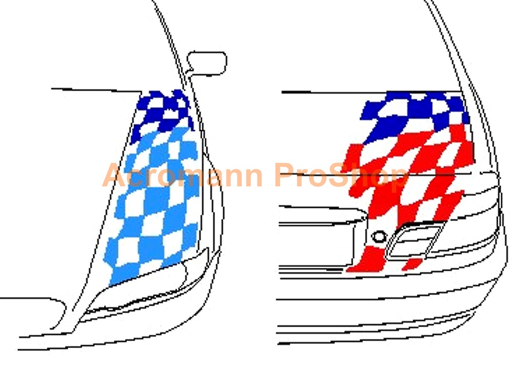 BMW Motorsport Checkered Flag Bonnet Trunk Decal(Style#1) x 1set