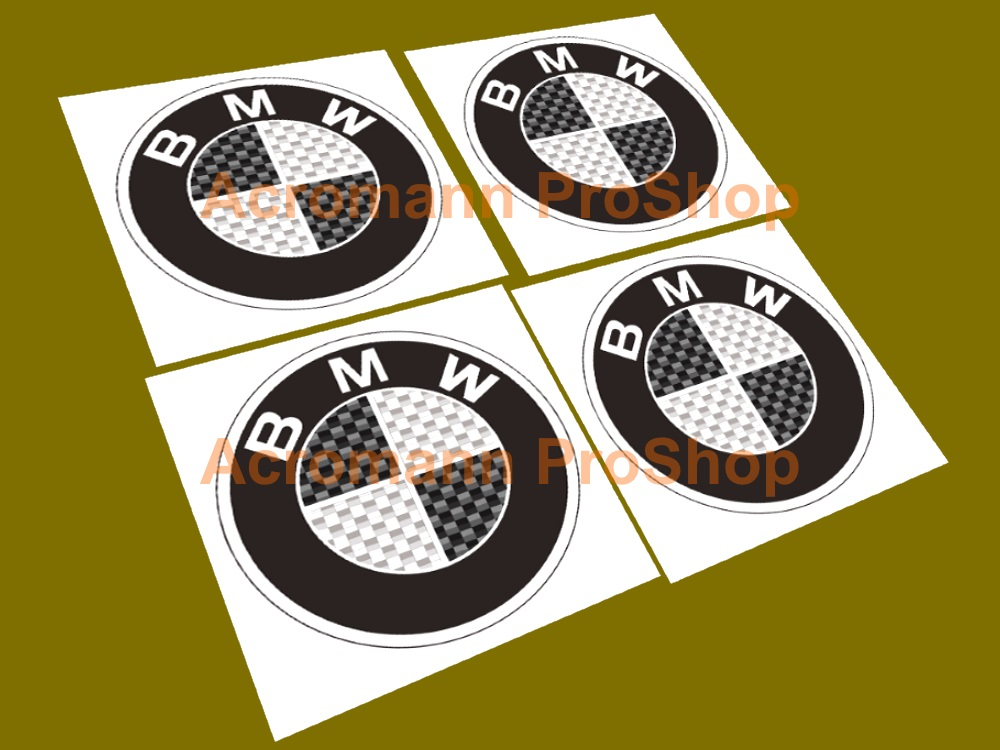 BMW Printed 2.2inch Wheel Cap Decal (Style C) x 4 pcs
