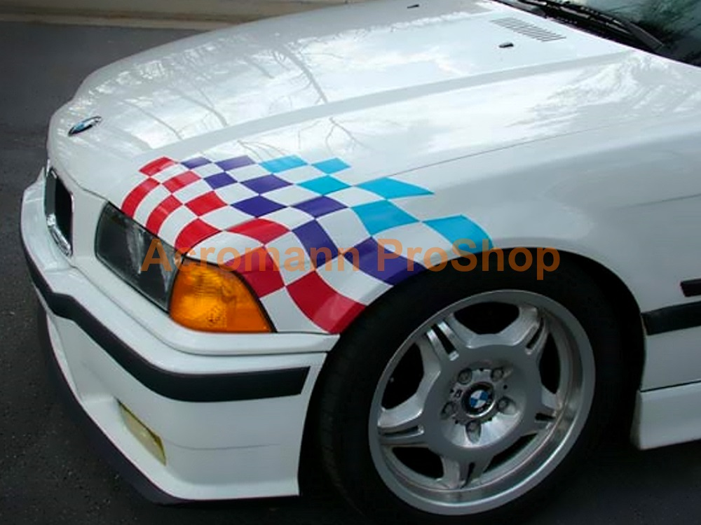 BMW Motorsport Checkered Flag Bonnet Trunk Decal(Style#2) x 1set