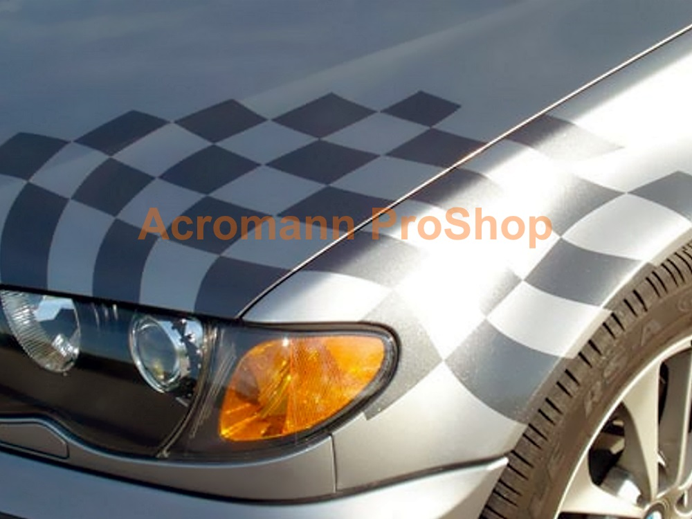 BMW Motorsport Checkered Flag Bonnet Trunk Decal(Style#3) x 1set