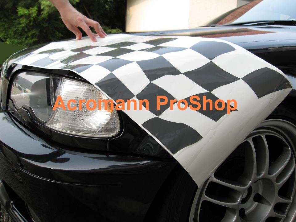 BMW Motorsport Checkered Flag Bonnet/Trunk Decal (Style#2) x 1pc
