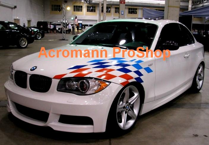 BMW Motorsport Checkered Flag Bonnet/Trunk Decal (Style#3) x 1pc