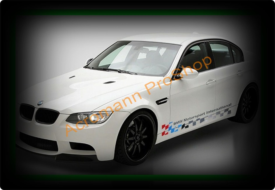 BMW Motorsport Checkered Flag Side Door Decal (Style#1) x 1 pair
