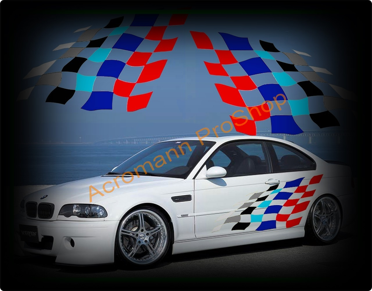 BMW Motorsport Checkered Flag Side Door Decal (Style#2) x 1 pair