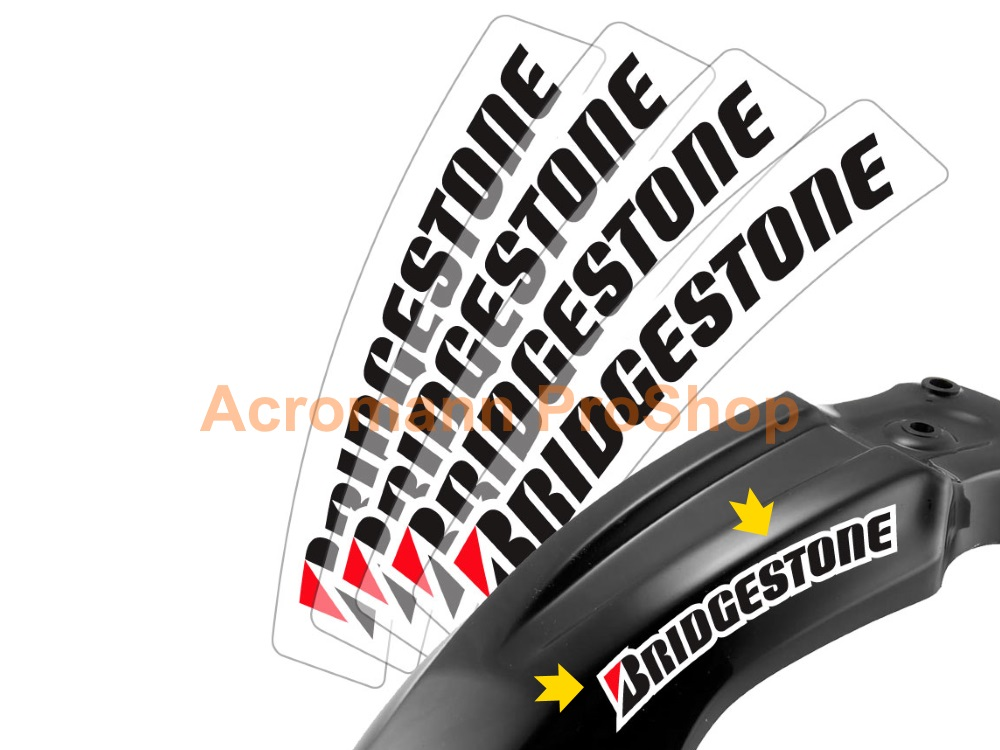 BRIDGESTONE 6inch curved Decal (Style#4) x 2 pcs