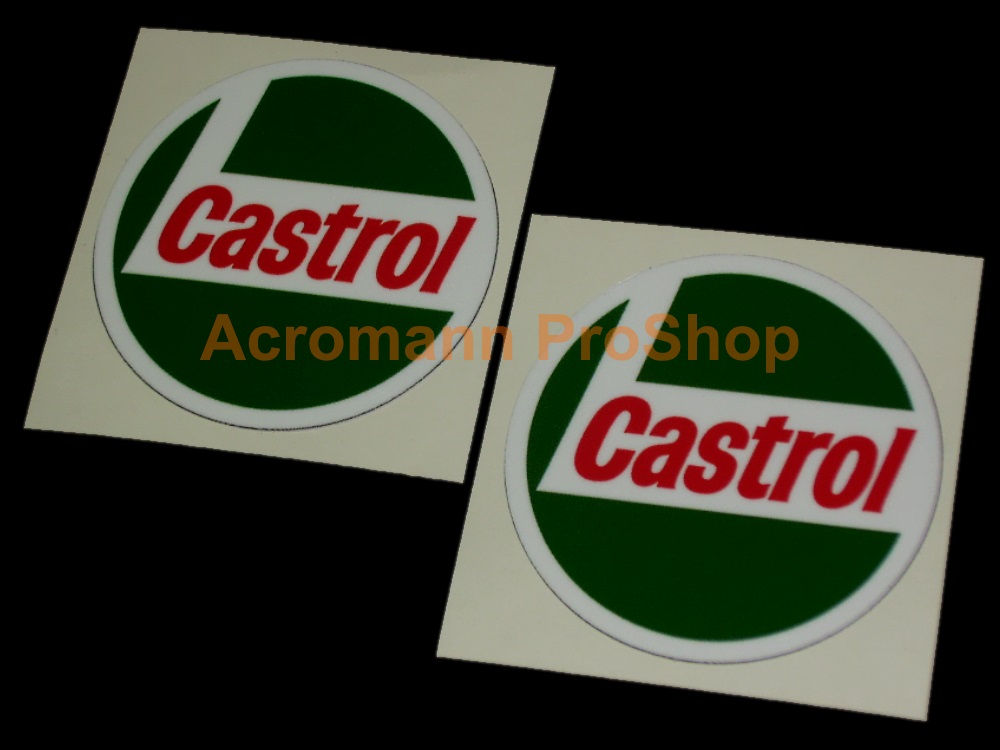 Castrol Round Logo 3inch Decal (Style#1) x 2 pcs