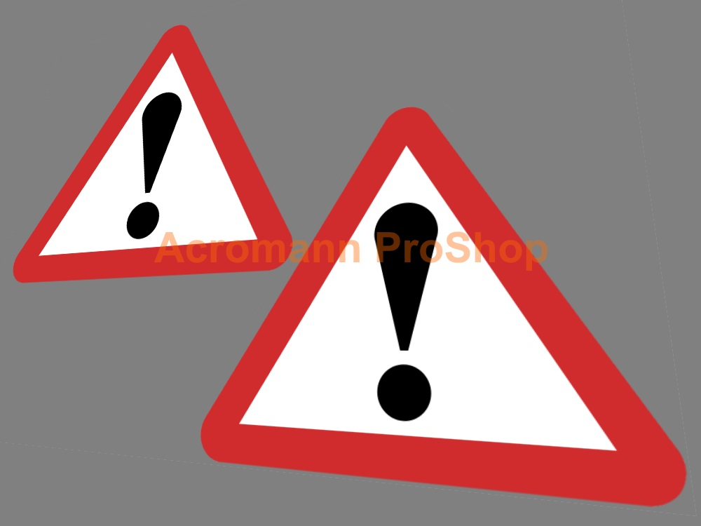 Triangle Caution Danger Exclamation Warning Sign 4inch Decal x 2