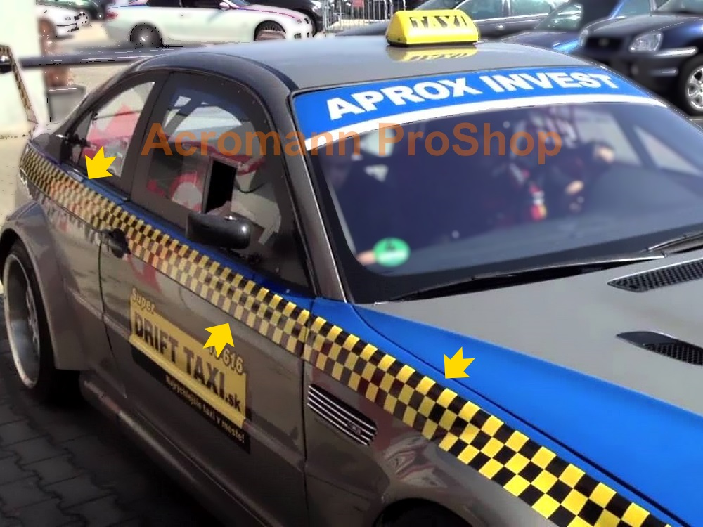 Drift Taxi Checkered Side Stripe Decal (Style#1) x 1 pair