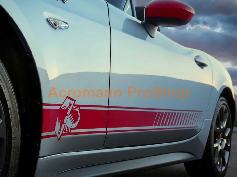 Fiat 124 Spider Abarth Scorpion Side Stripes Door Decals Sticker