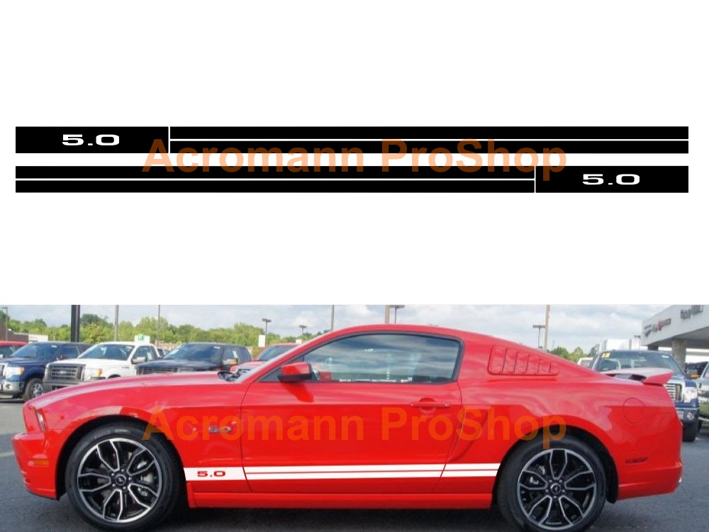 Ford Mustang 5.0 Side Stripe Door Decal (Style#1) x 1 pair