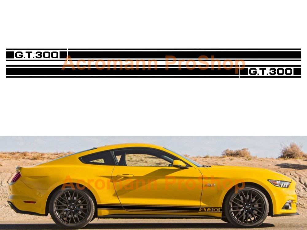 Ford Mustang GT 300 Side Stripe Door Decal (Style#5) x 1 pair