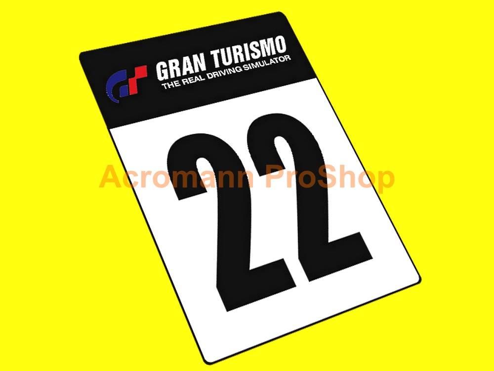 Gran turismo style1 number plate decal x 2pcs