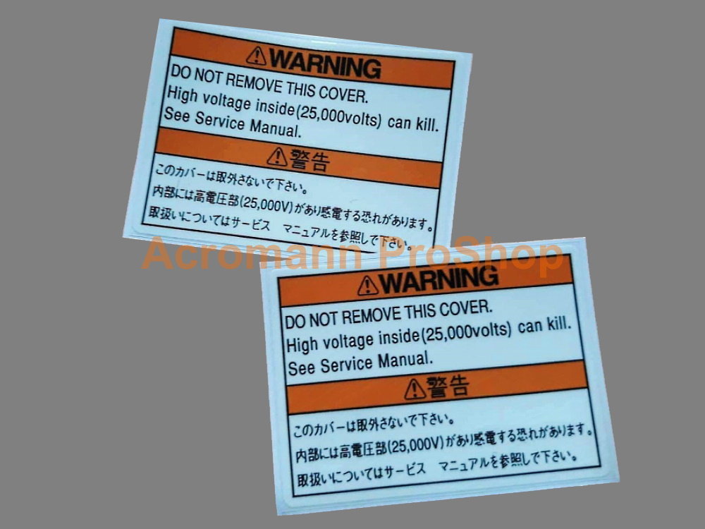 H JDM Xenon HID Headlight Ballast Cover Warning Decal Sticker x2