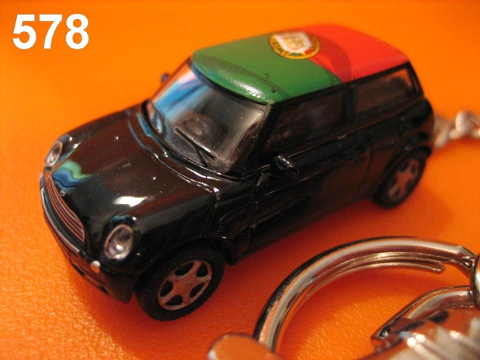 New Mini Cooper (Black body w/ Portugal Flag) Die-cast Key Chain