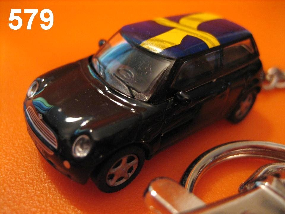 New Mini Cooper (Black body w/ Sweden Flag) Die-cast Key Chain