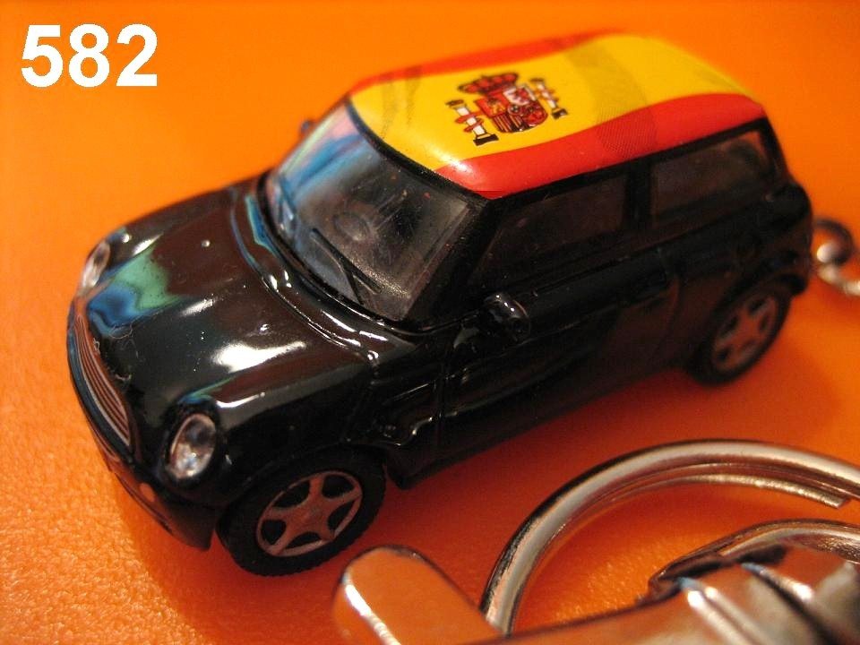 New Mini Cooper (Black body w/ Spain Flag) Die-cast Key Chain