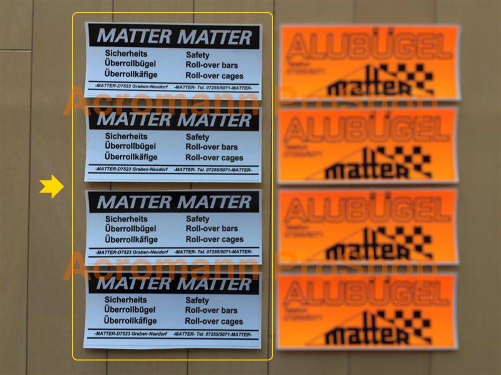 Matter Roll Cage Bar 6inch Decal (Style#1) x 4 pcs