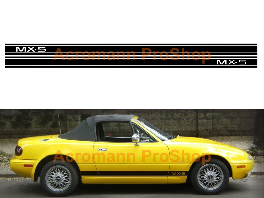 Mazda MX-5 Miata Side Stripe Door Decal (Style#15) x 1 pair