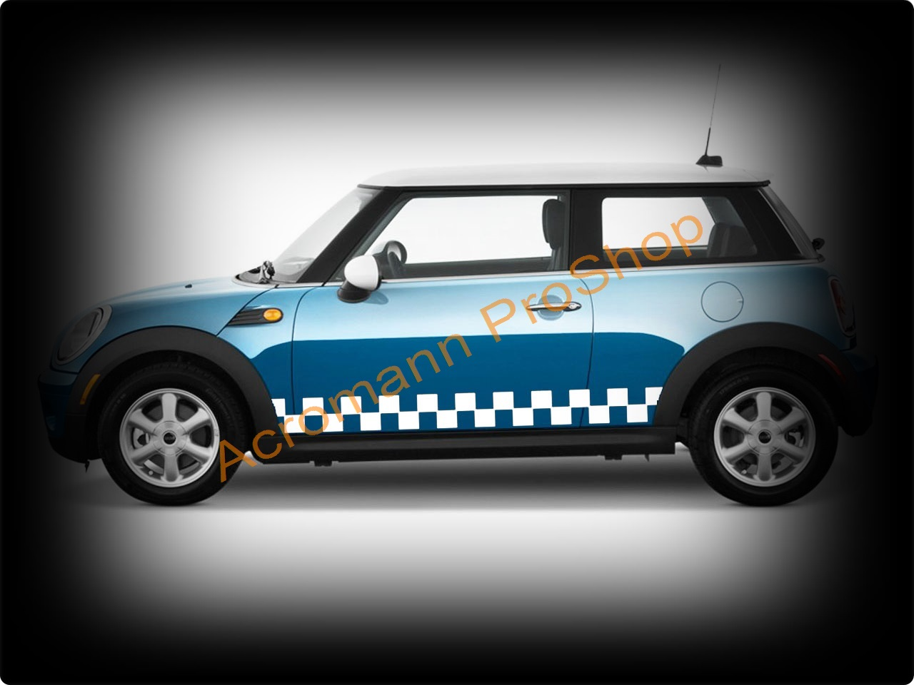 Mini Cooper Checkered Side Stripe Door Decal x 1pair (LHS & RHS)