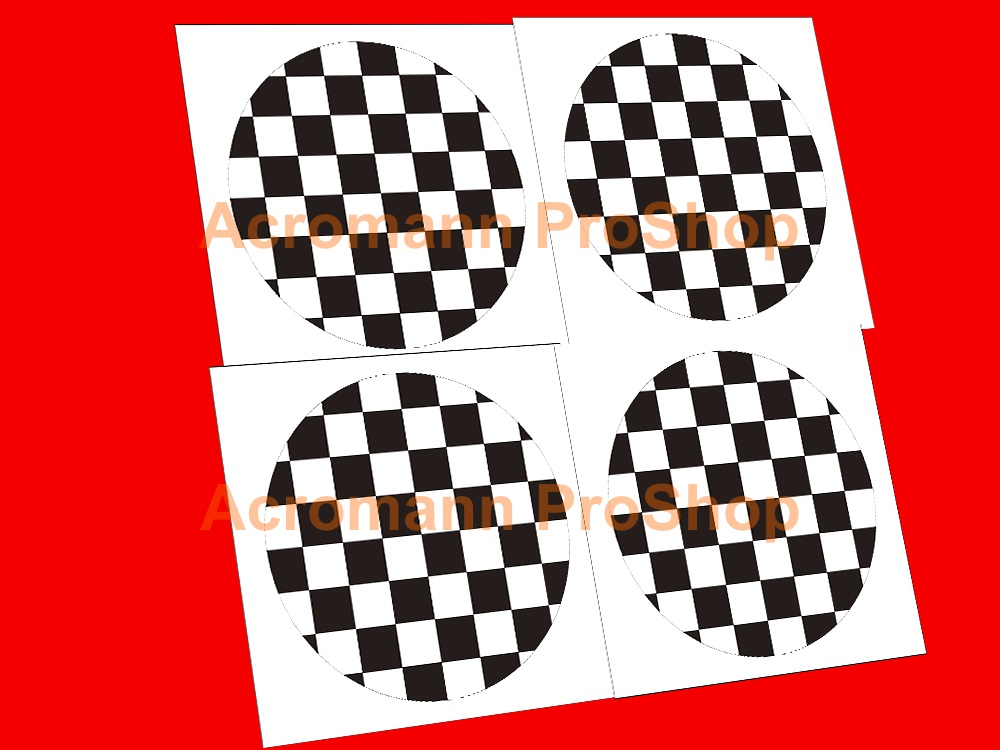 Mini Cooper Checker 2inch Wheel Cap Decal x 4 pcs