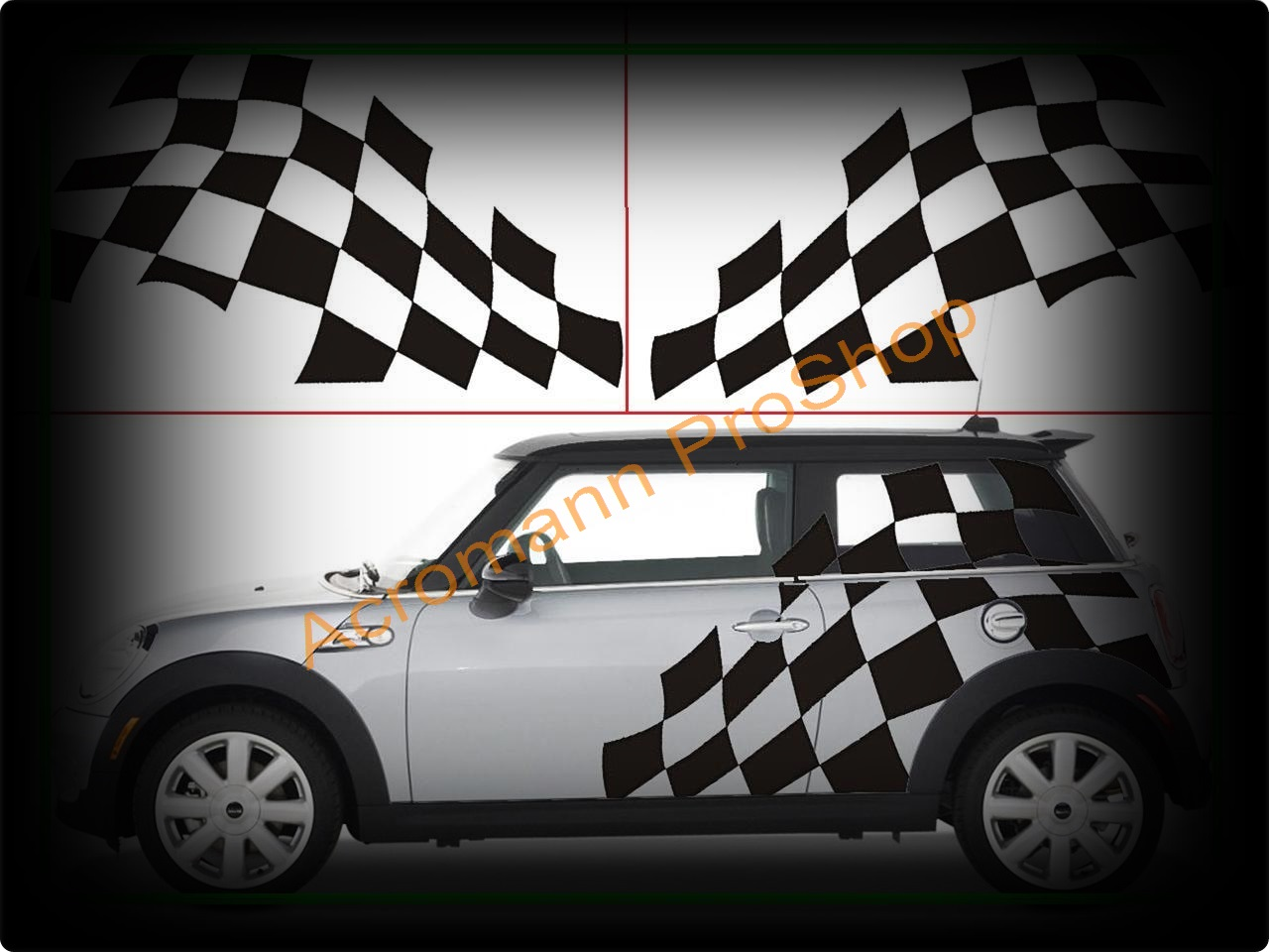 Mini Cooper Large Checkered Flag Side Decal x 1 pair (LHS & RHS)