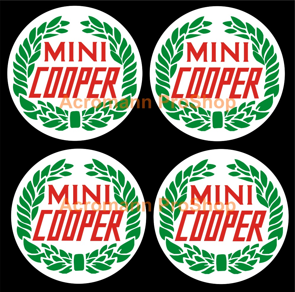 Classic Mini Cooper Laurel 2inch Wheel Cap Decal x 4 pcs