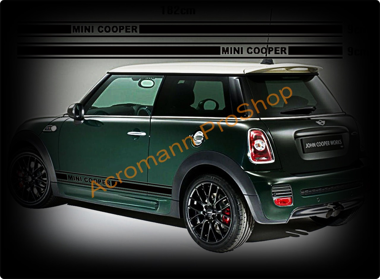 Mini Cooper Side Stripe Door Decal (Style#1) x 1pair (LHS & RHS)