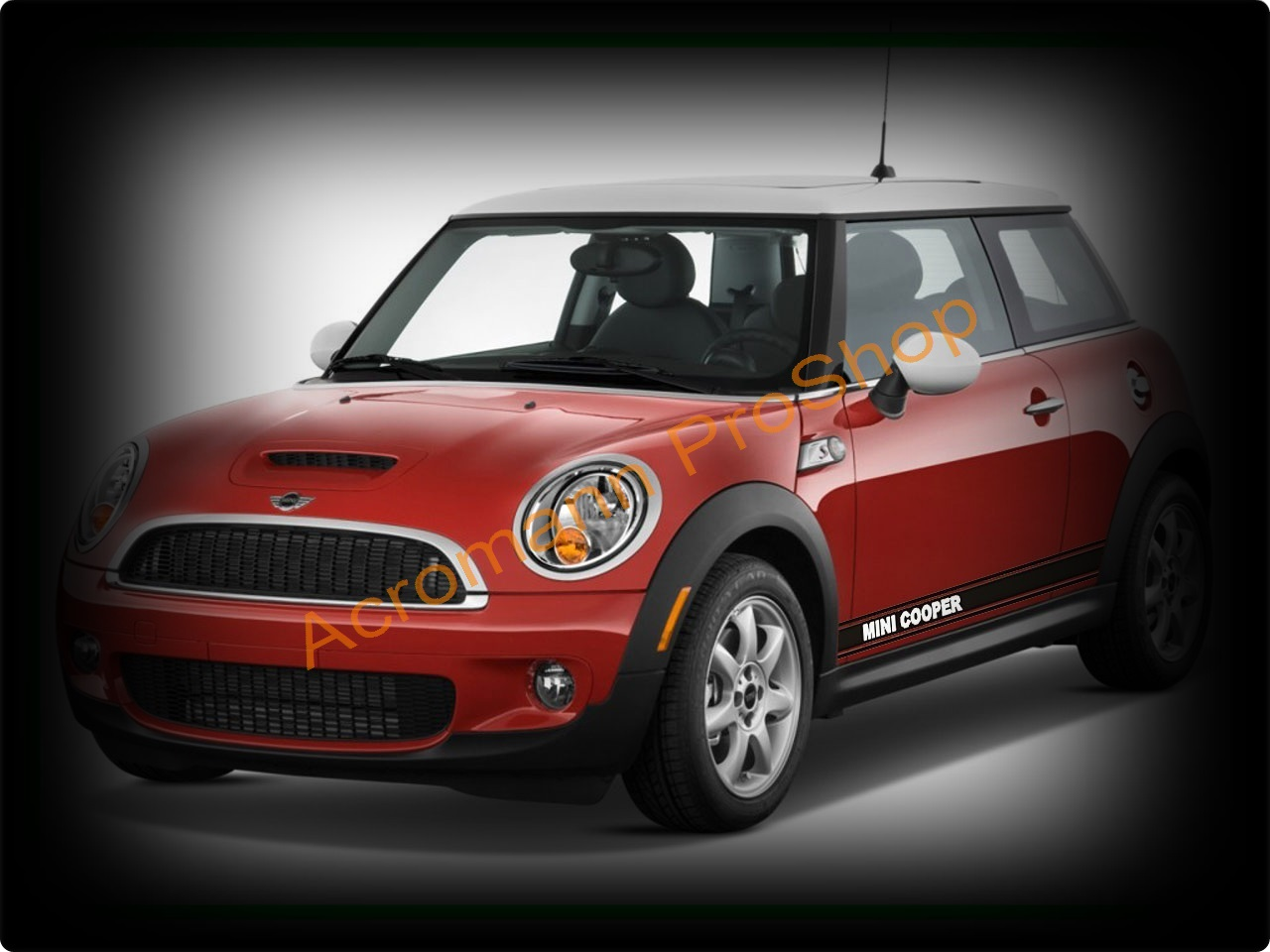 Mini Cooper Side Stripe Door Decal (Style#2) x 1pair (LHS & RHS)