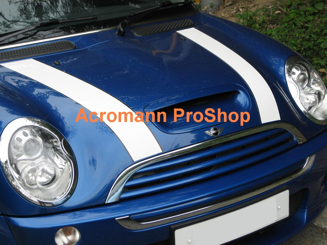 New Mini Cooper Bonnet Stripes (Style#2) x 1 pair (LHS & RHS)