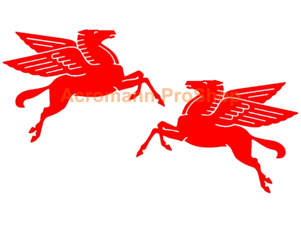 MOBIL Oil Pegasus 4inch Decal (Style#1) x 1 pair (LHS & RHS)