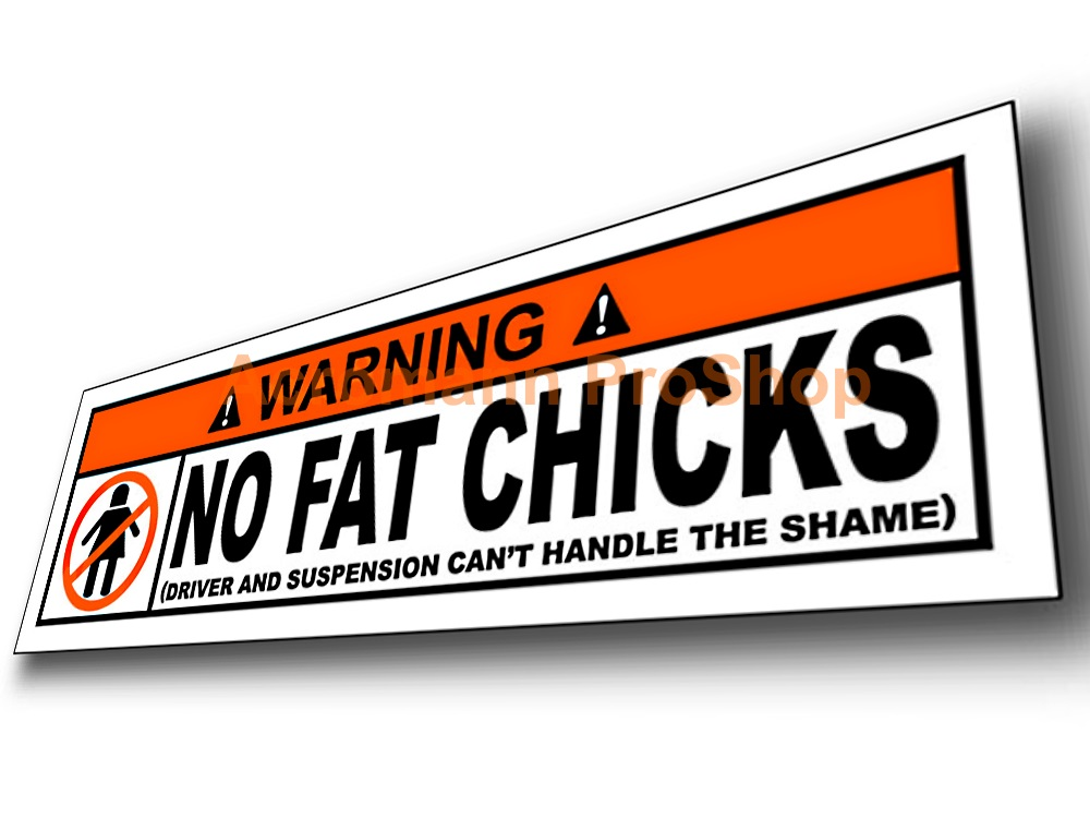 No Fat Chicks Funny Warning 5inch Decal (Style#1) x 1 pc