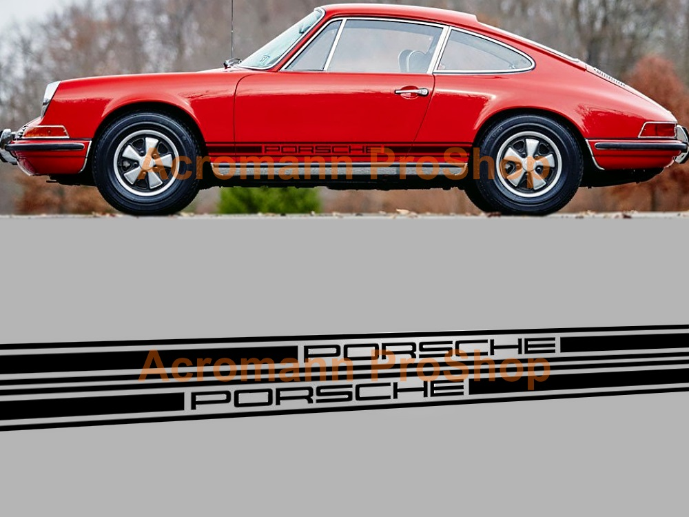 Porsche 911 901 930 Classic Side Stripes Door Decals (Style#10)