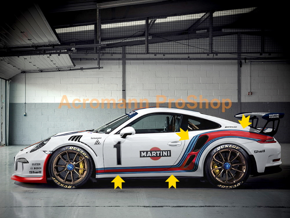 Martini Racing Porsche 911 991 Carrera Side Stripes Door Decal#3