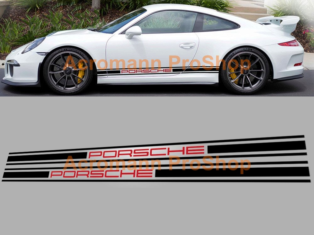 Porsche 911 911R 991 Classic Side Stripes Door Decals (Style#15)