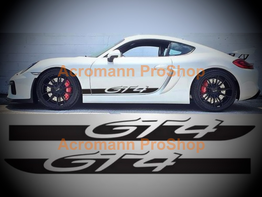 Porsche 981 718 Cayman GT4 Side Stripes Door Decals (Style#4)