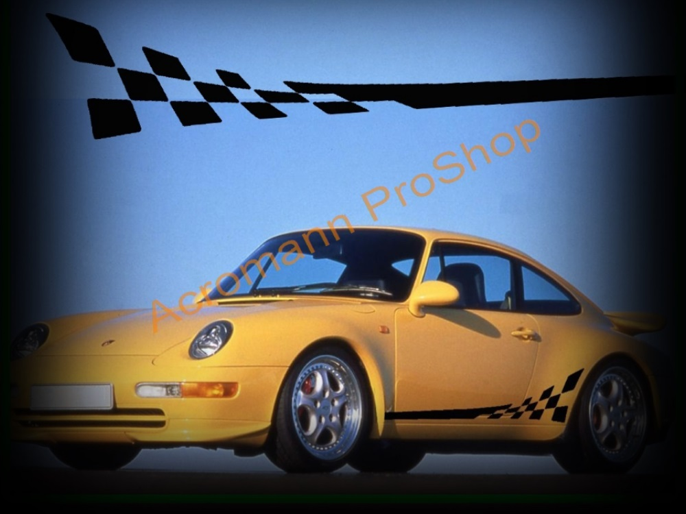 Porsche 911 993 GT3 RS 3.8 Side Stripes Door Decals (Style#2)