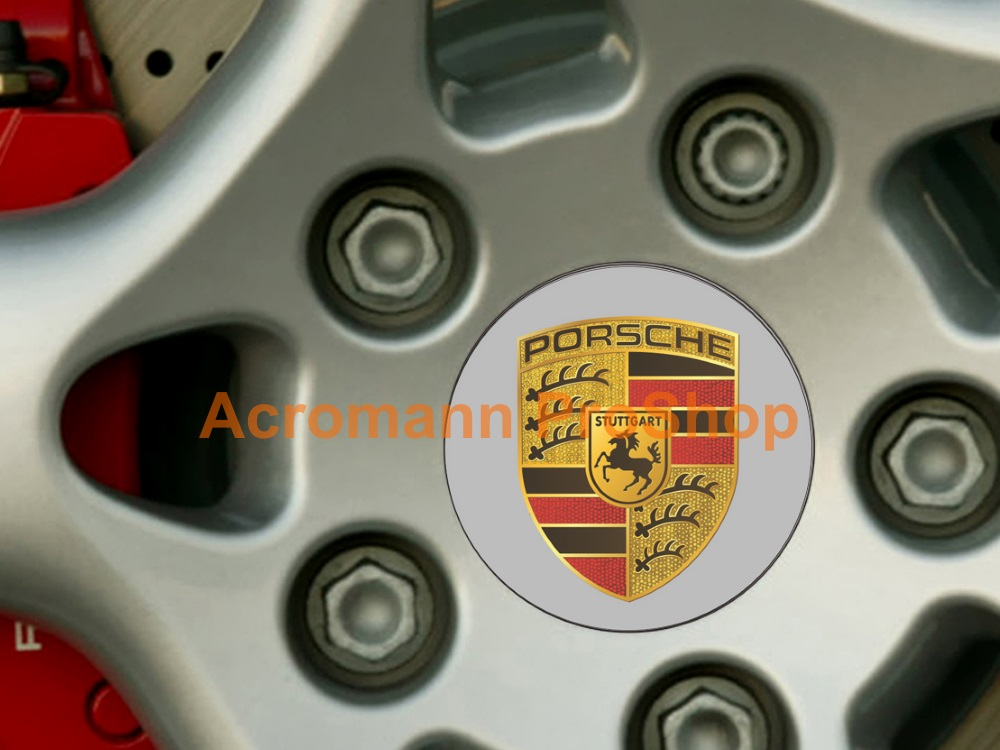 Porsche Printed 2.2inch Wheel Cap Decal (Style B) x 4 pcs