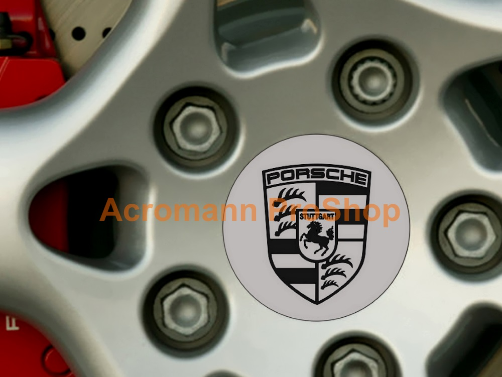 Porsche Printed 2.2inch Wheel Cap Decal (Style A) x 4 pcs