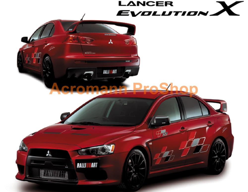 RALLIART Evo X Side Door Decal Set x 1 pair (LHS & RHS)