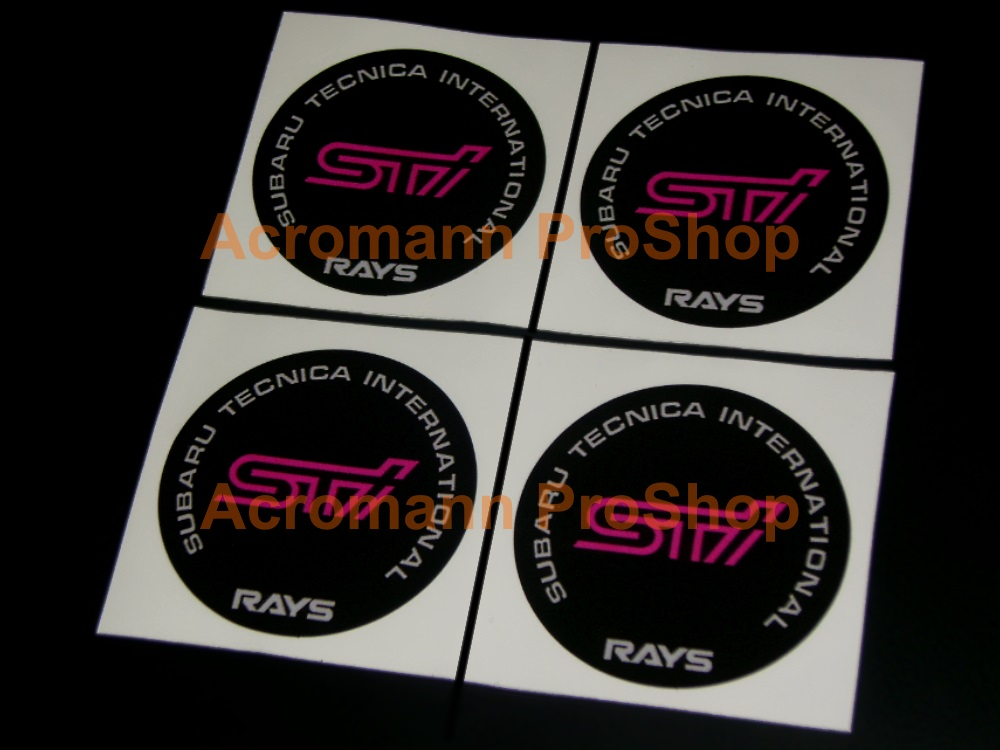 STi RAYS 2.2inch Wheel Cap Decal x 4 pcs