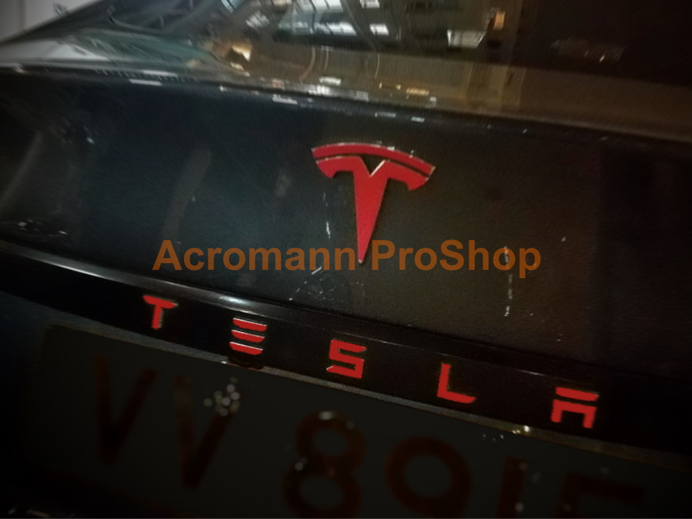Tesla Model S Rear Trunk Applique Letters Vinyl Decals Sticker