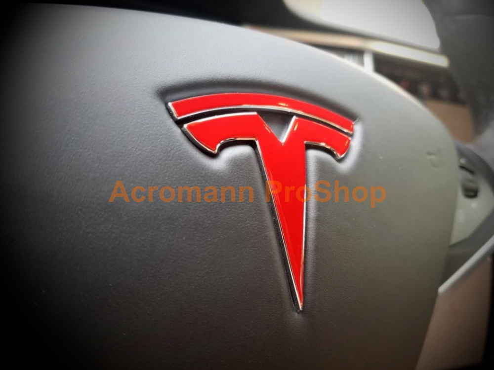 Tesla Model S Steering Wheel T Logo Vinyl Decals Sticker x 2 pcs