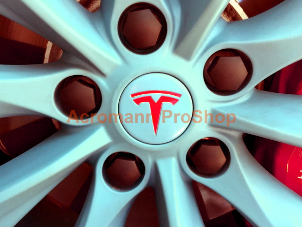 Tesla Wheel Cap Emblem T Logo Vinyl Overlay Decals Sticker x4pcs